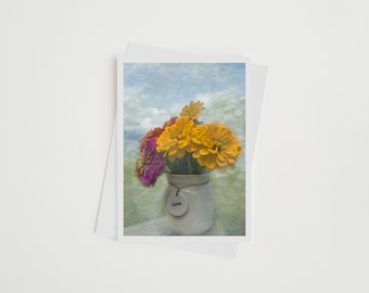 Zinnia Note Card, Flower Photo Card with Envelope,  Zinnia Monet Photo Art Invitation, Picture Card, Nature Photography, Botanical Card