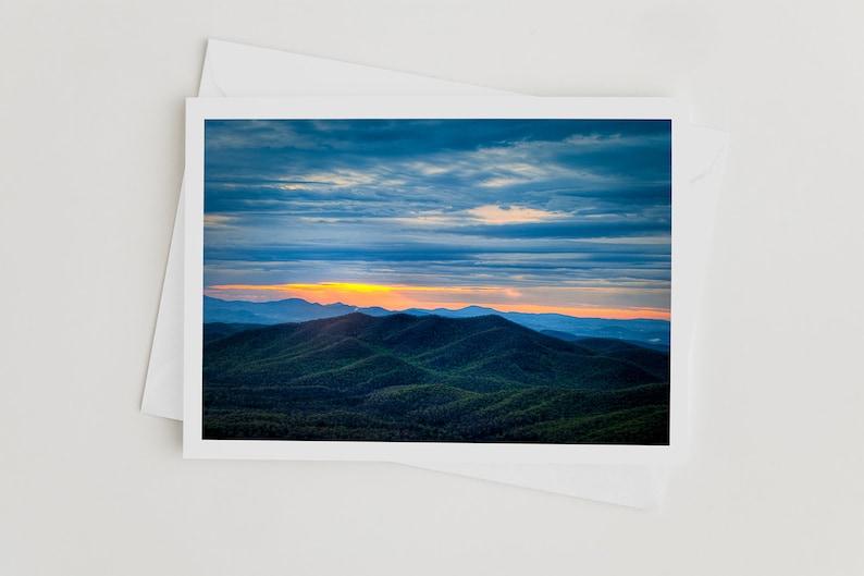 Handmade Photo Art Cards Blue Ridge Parkway Sunrise Nature image 0