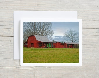 Red Barn Note Card   Comes with Envelope : Farm Tractor Invitation   Nature Greeting Card   Thank you Note   Landscape Scenery Card Art