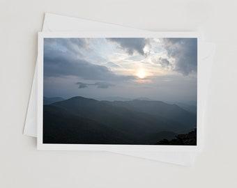 Sunset Photo Note Card Handmade with Premium Envelope,  Blue Ridge Parkway, Mountain Art, Nature Photography, Craggy Gardens North Carolina