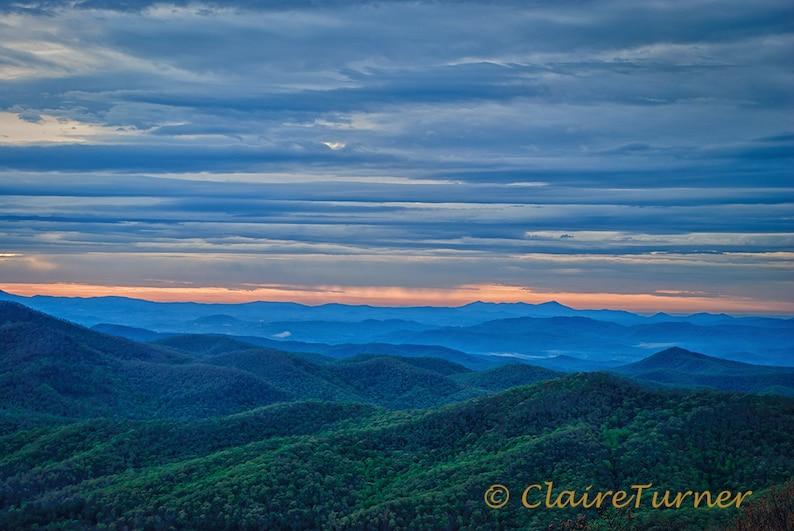 Blue Ridge Mountains Art Print Appalachian Wall Art Nature image 0