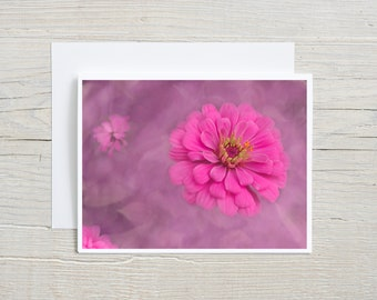 Flower Art Note Card   Pink Zinnia Card with Envelope   Flower Photo Invitation, All Occasion Botanical Card, Floral Stationary,Blank Inside