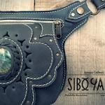 Leather Utility Belt - Festival Belt with Labradorite Stone by Sibo Yanke. Handmade  //Model: AGORA//  www.siboyanke.com