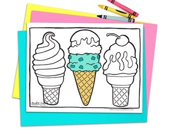 4 Printable Food Coloring Pages Kawaii Adult Coloring | Etsy