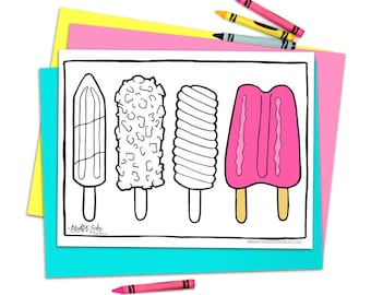 Printable Coloring Pages Kids Popsicles Adult Mindfulness Stress Relief Sweets Ice Cream Instant Download