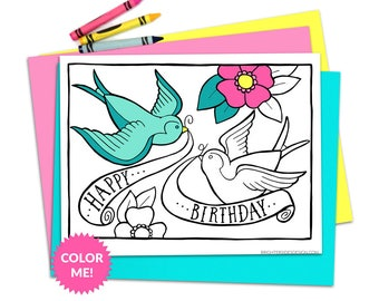 Birthday Cake Coloring Page Kids Birthday Adult Coloring Etsy