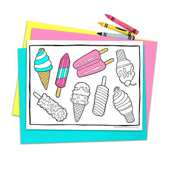 Summer Dessert Coloring Pages Ice Cream Popsicles Cute Food Adult Coloring Kids Coloring Activity