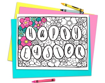 Printable Easter Coloring Page, Easter Eggs, Spring Coloring Book, PDF, Easter Basket Stuffer Activity, Kids Coloring, Adult Coloring