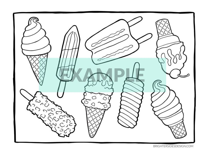 Summer Dessert Coloring Pages Ice Cream Popsicles Cute Etsy