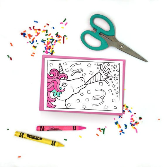 Unicorn Birthday Card Unicorn Party Card Printable Coloring Card Kids Coloring Adult Coloring Unicorn Party Invitation