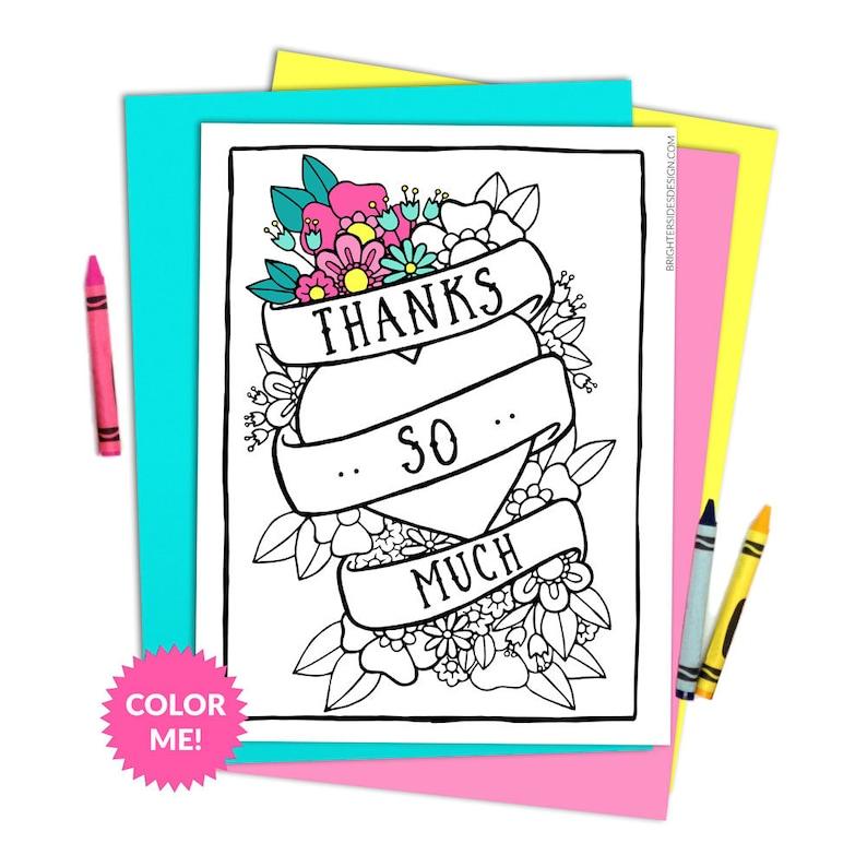 Thank You Coloring Page Printable Teacher Thanks Gratitude Etsy
