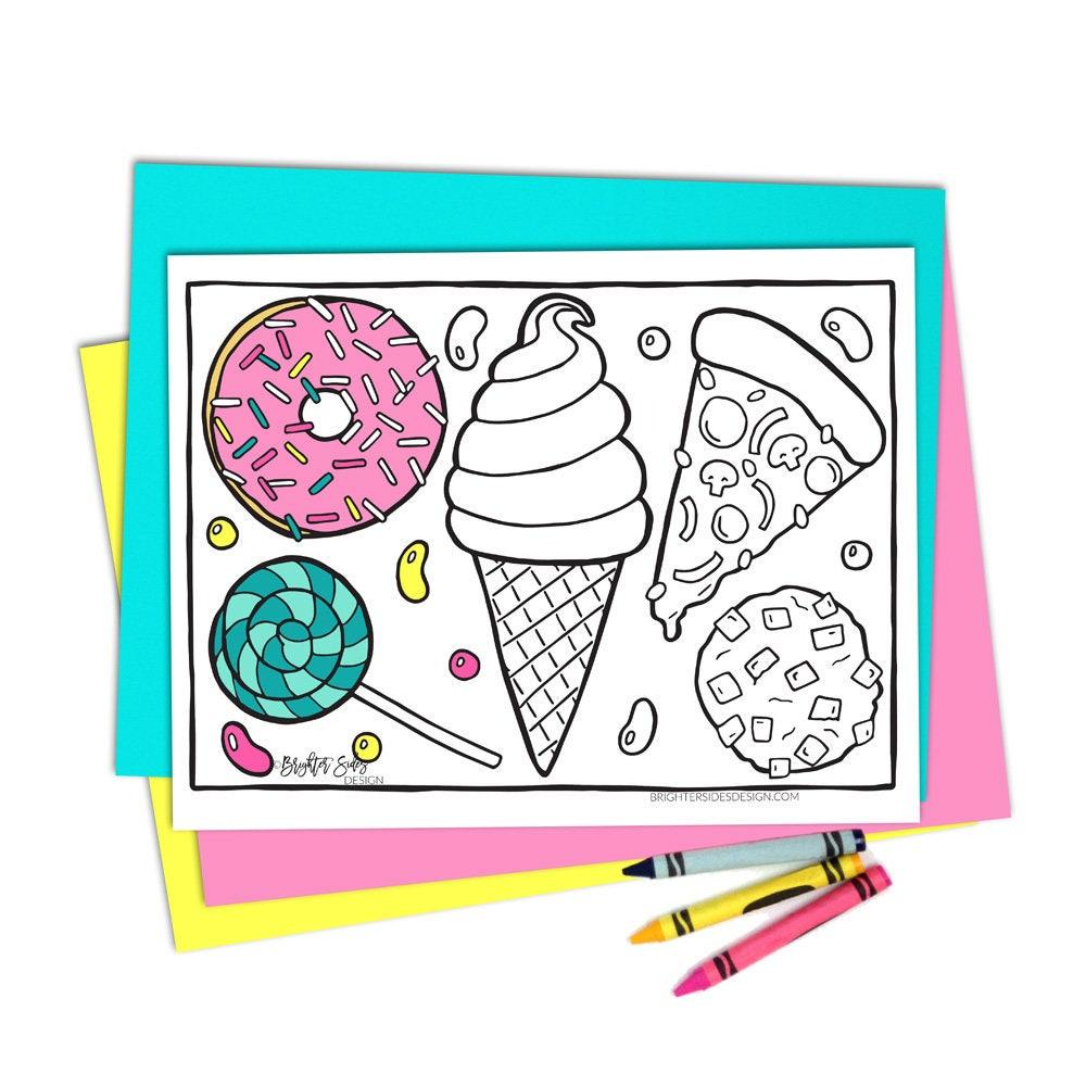 Coloring Page Kawaii Food Printable Adult Coloring Pizza ...