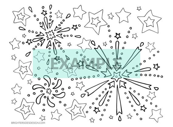 New Year\'s Eve Fireworks Coloring Pages, Printable 4th of July Adult  Coloring, Kids Coloring, Digital Download