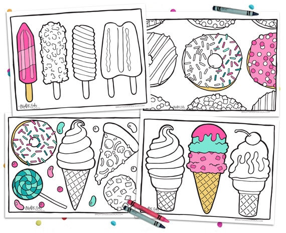 Printable Coloring Pages Pizza Donut Party Adult Coloring Kids Coloring Ice Cream Instant Download Digital Download