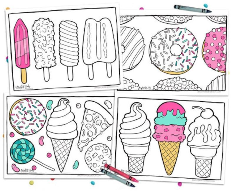 4 Printable Food Coloring Pages Kawaii Adult Coloring Etsy