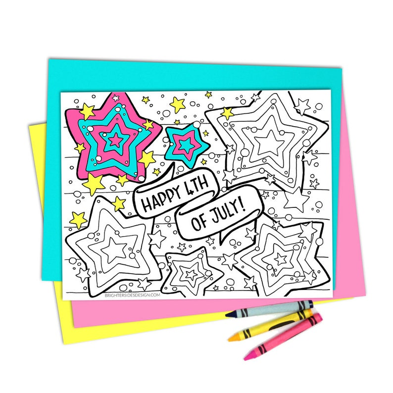 4th Of July Coloring Pages Printable Adult Coloring Kids Coloring Independence Day Digital Download