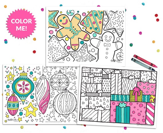 3 Christmas Coloring Pages Printable Ornaments Ginger Bread Etsy