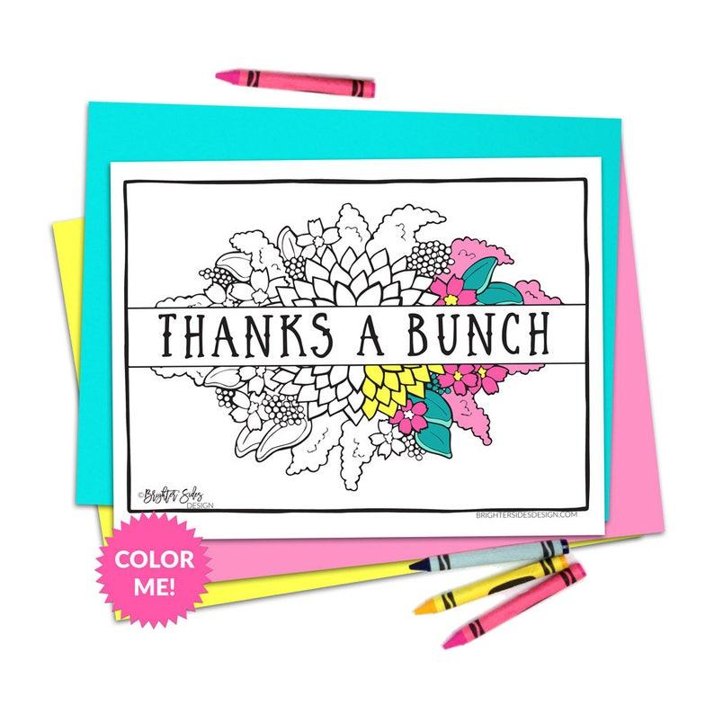 Printable Thanks Coloring Page Teacher Thank You Gratitude Etsy