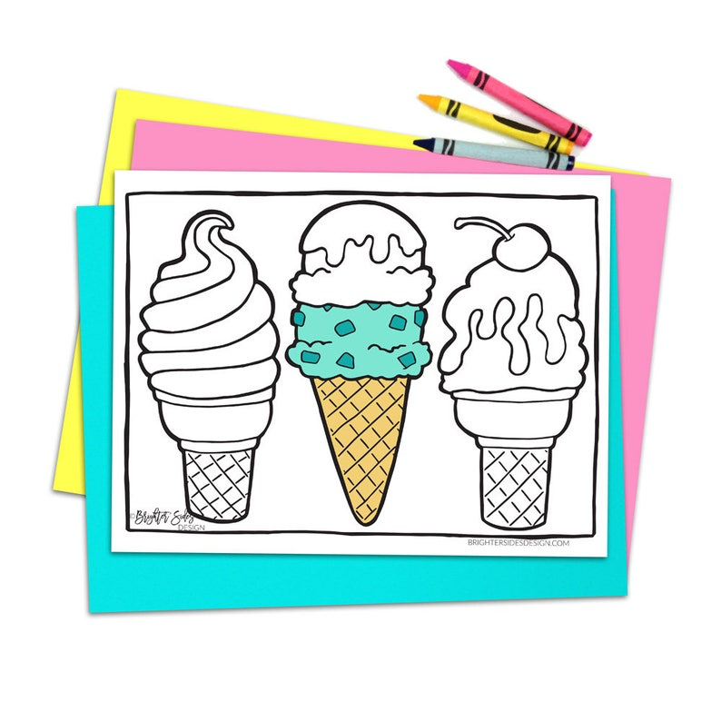 Printable Ice Cream Coloring Page Cute Kawaii Food Etsy