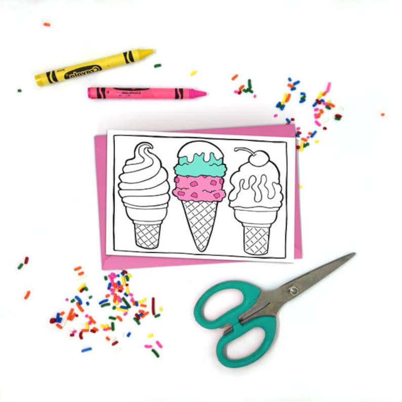 graphic relating to Ice Cream Cone Printable named Do-it-yourself Ice Product Cone Printable Coloring Card - Ice Product Social Occasion - Kawaii Food items - Grownup Coloring - Little ones Colouring - Lovely Sport