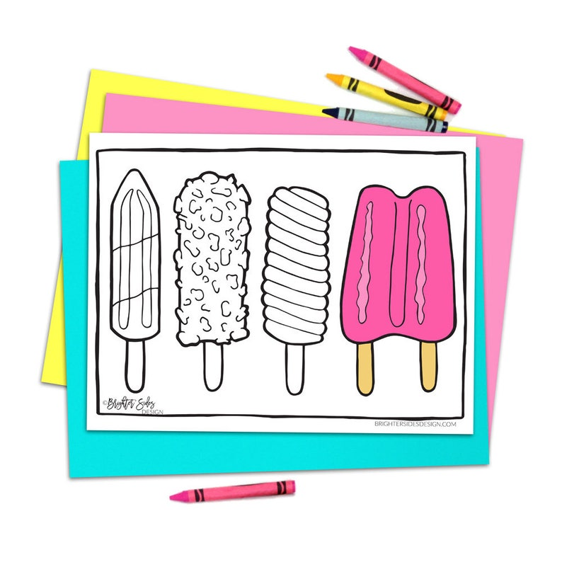 Printable Coloring Pages Kids Popsicles adult coloring | Etsy