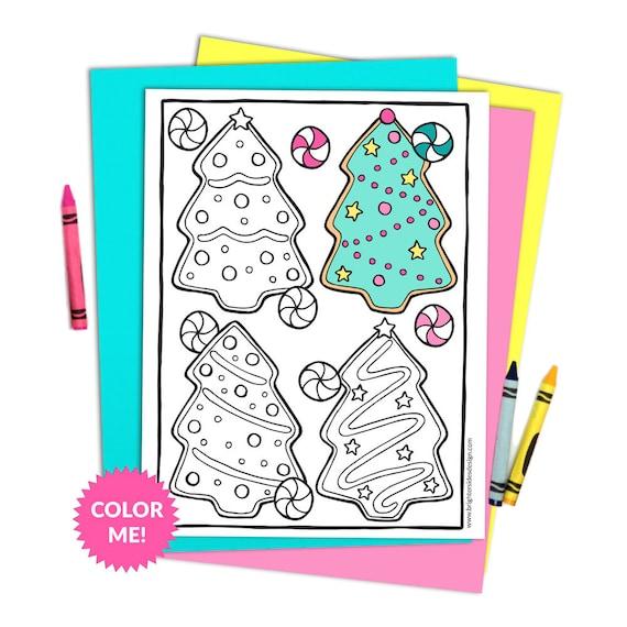 Christmas Tree Coloring Page Christmas Cookies Printable