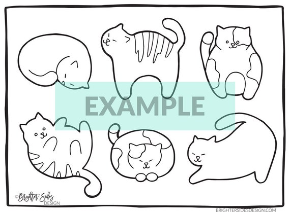 Cute Cat Lover Coloring Page Printable Cat Print Kitten | Etsy