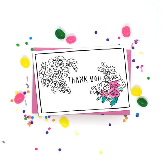 Flowers Wedding Thank You Instant Download PDF Printable Thank You Cards Floral Modern Adult Coloring Card Pretty DIY Coloring