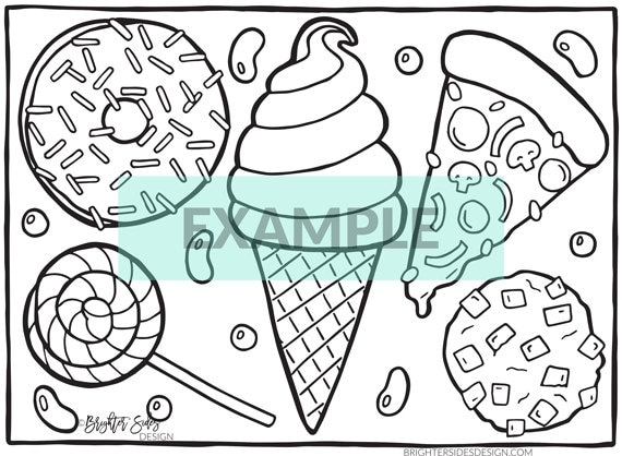 photograph about Printable Food Coloring Pages titled 4 Printable Foods Coloring Webpages - Kawaii - Grownup Coloring - Pizza - Donut - Children Coloring - Ice Product - Snacks - Colouring -Immediate Obtain
