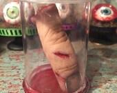 Human Severed Finger Halloween Ornament Prop OOAK Creepy Scary Bloody