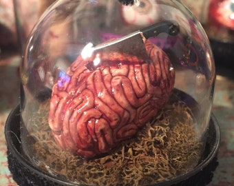 Human  Brain with Hatchet Halloween Ornament OOAK Bloody Creepy Scary