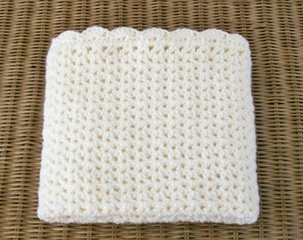 Crocheted Baby Blanket, Baby Boy Afghan, Baby Girl Afghan, Ivory Color Baby Blanket, Off White Afghan