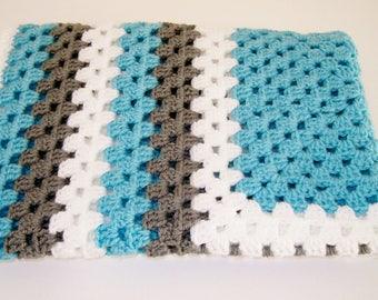 Baby Boy Afghan, Granny Square Afghan, Crocheted Baby Blanket -  Aqua, Gray, White Baby Afghan