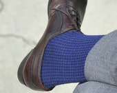 Black Sax Houndstooth Over The Calf Wool Silk Socks