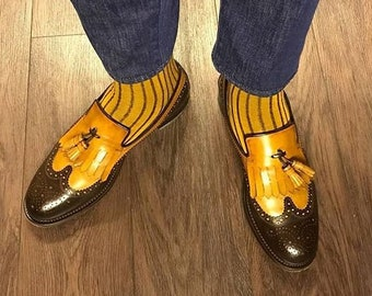 a294143fc71 New Bi Color Mustard Brown Over The Calf Ribbed Cotton Lisle Casual Dress  Socks