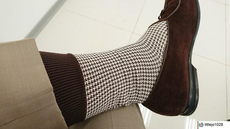b3892f8e7 Luxury Brown Beige Houndstooth Mid Calf Socks