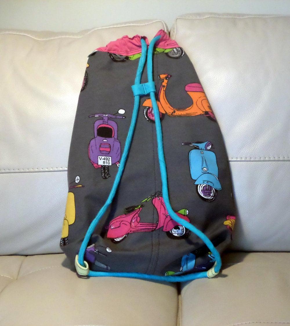 Scooter Backpack Drawstring Bag Mods Motorbike Vespa Etsy Luggage Tag Hk Love Pink
