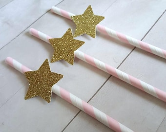 12 Pink Gold Birthday Decor Pink Gold Twinkle Twinkle Little Star Party Pink Gold First Birthday Pink Gold Baby Shower Straws Star Straws