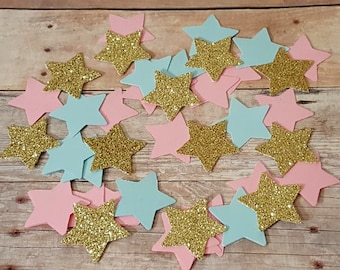 150 Star Confetti Twinkle Little Star Party Decor Star Gender Reveal Decorations Pink Blue Gold Confetti Star Confetti Star Invitations