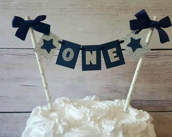Silver And Navy Twinkle Little Star Party Cake Topper Bunting Boy First Birthday Blue