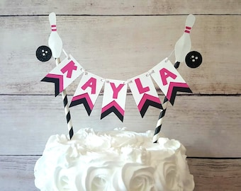 Bowling Cake Topper Girl Birthday Party Decorations Pink Bunting Decoration