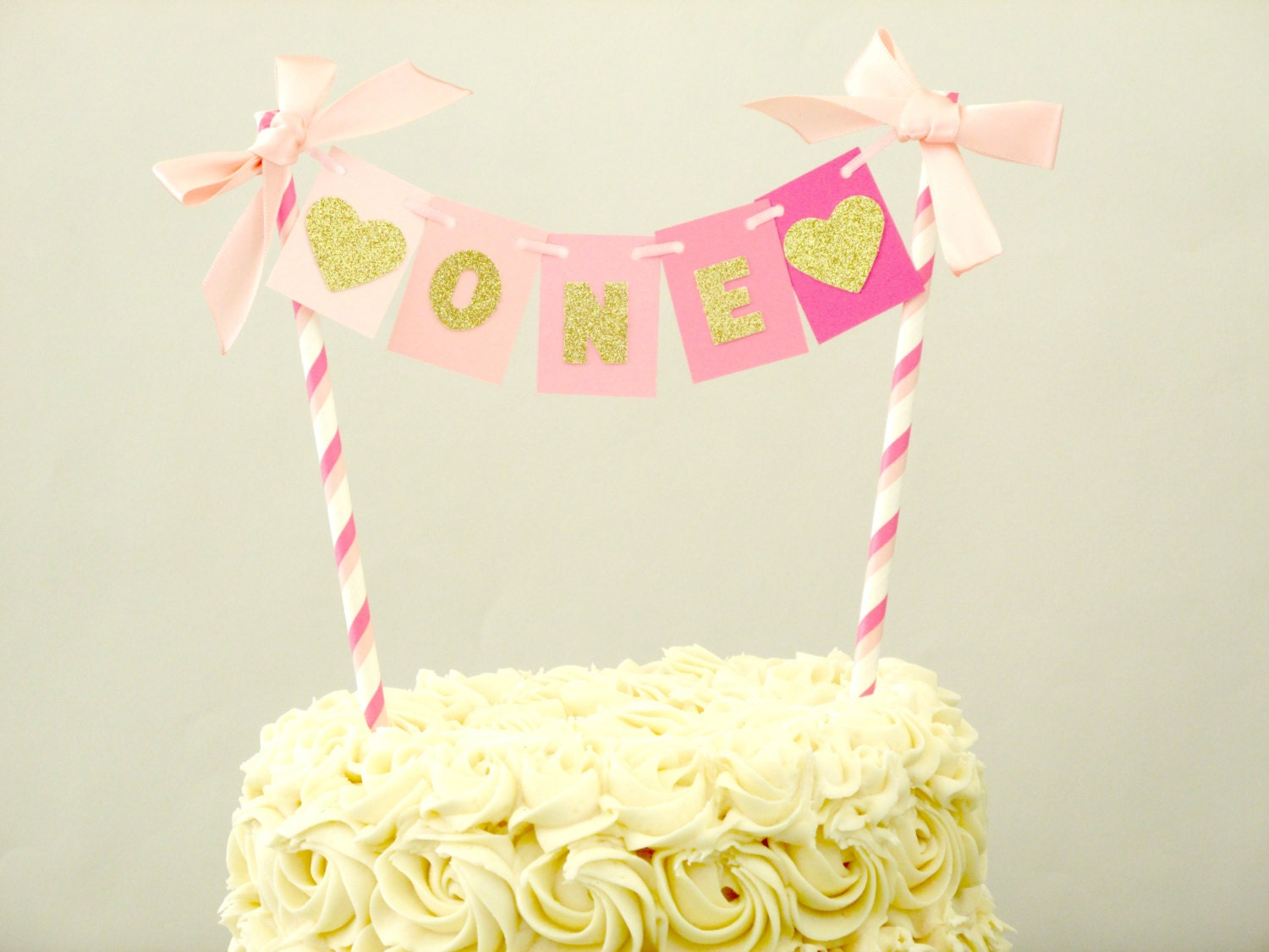 Pink Ombre Cake Topper Pink Ombre Gold Birthday Age Cake