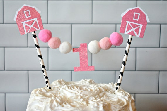 Barnyard Cake Topper Barnyard Party Decor Girl Barnyard Etsy