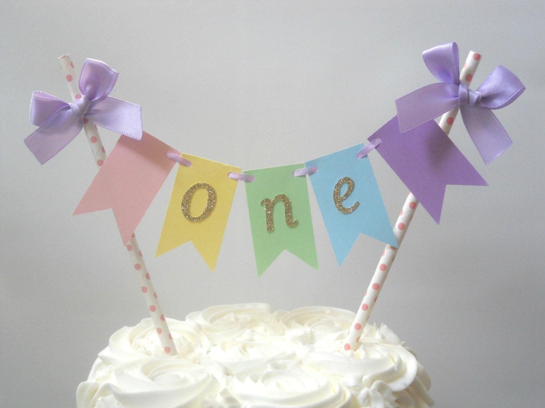 Pastel First Birthday Decor One Smash Cake Topper One Cake Etsy