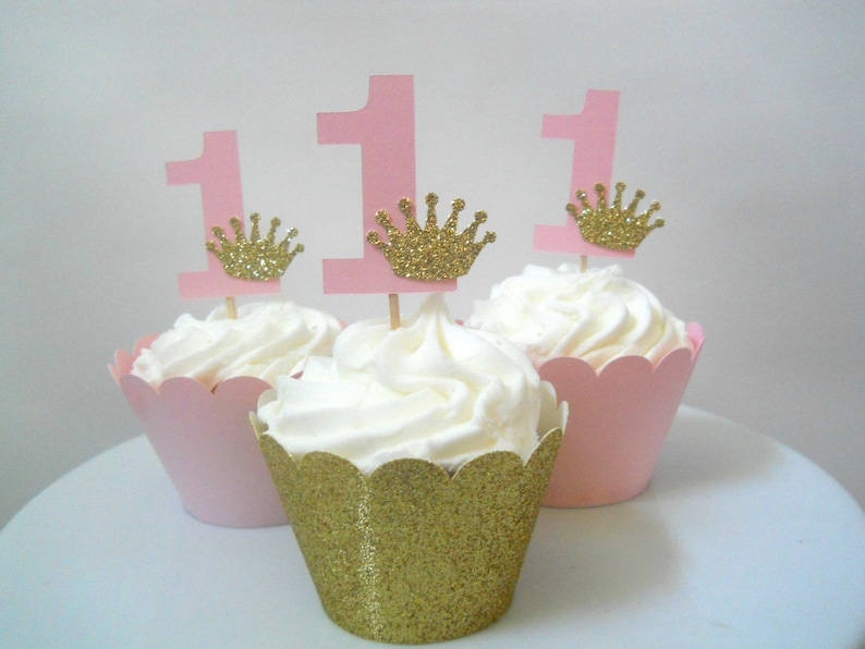 12 Princess First Birthday Cupcake Toppers Crown