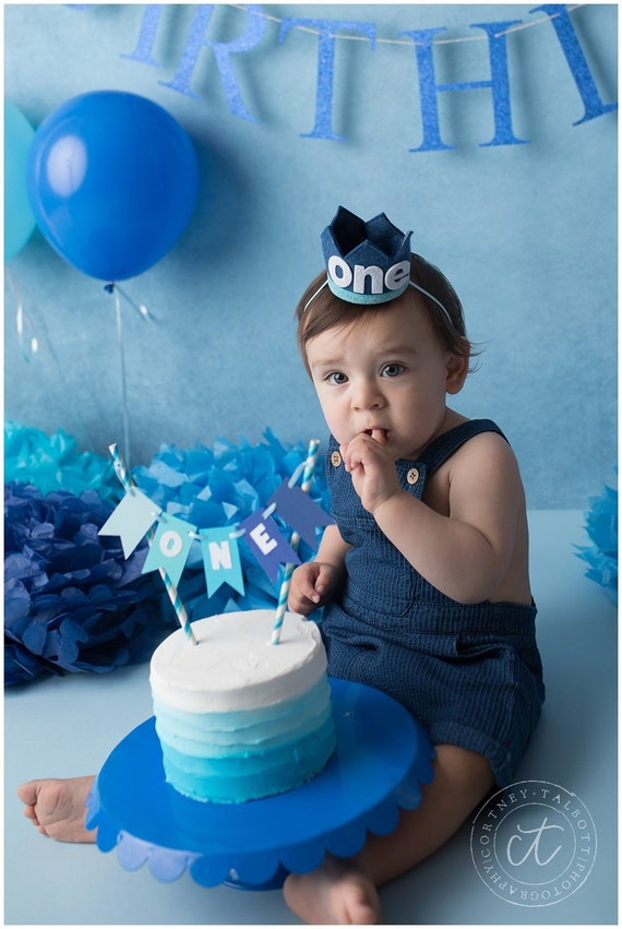 Admirable One Cake Topper Boy 1St Birthday Decorations Blue Cake Smash Etsy Funny Birthday Cards Online Alyptdamsfinfo