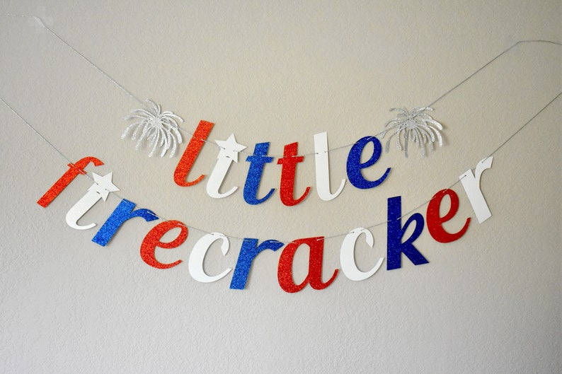 Little Firecracker Banner Decorations 4th Of July Birthday Baby Shower