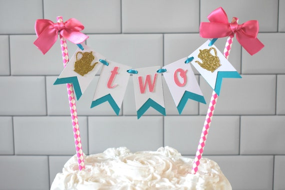 Tea For Two Cake Topper Birthday Alice On Wonderland In Party Bunting