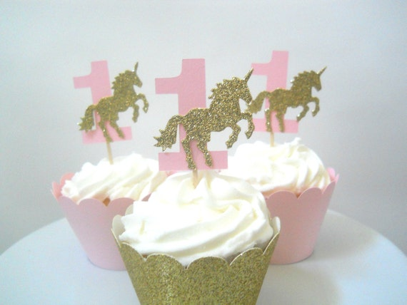 Unicorn First Birthday Decorations Cupcake Toppers Pink And Gold Party Girl