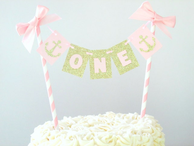 Nautical First Birthday Cake Topper Decorations Pink Gold Party Girl